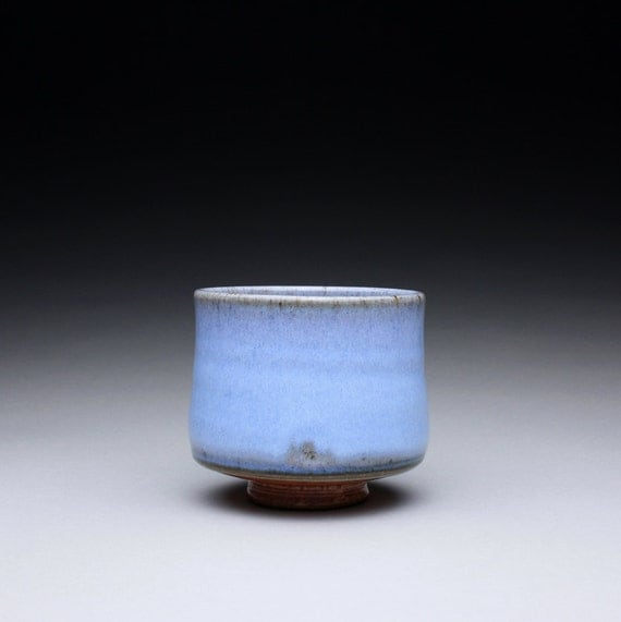 teacup - yunomi - cup - tumbler with light blue chun and orange shino glazes