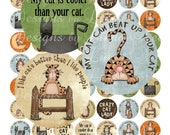 Instant Download Primitive Cat Lady (2.5 inch round) Bottlecap Images Digital Collage Sheet - Printable sticker magnet button jewelry making
