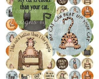 Instant Download Primitive Cat Lady (1 inch round) Bottlecap Images Digital Collage Sheet - Printable sticker magnet button jewelry