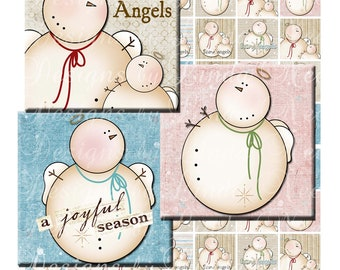 Instant Download - SNOWMAN Angels (2 x 2 Inch ) Images Digital Collage Sheet  SALE snow christmas printable sticker