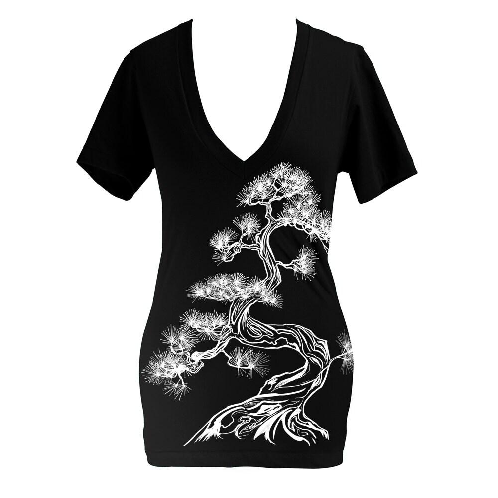 Japanese Pine Tree Deep V Neck T Shirt Black Screen Printed