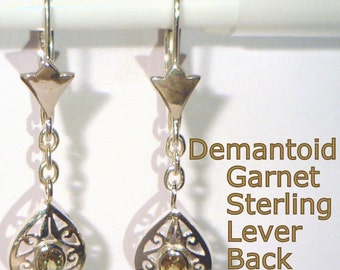 Demantoid Garnet Handmade 925 Sterling Dangle Lever Back Ladies Ajoure Earrings