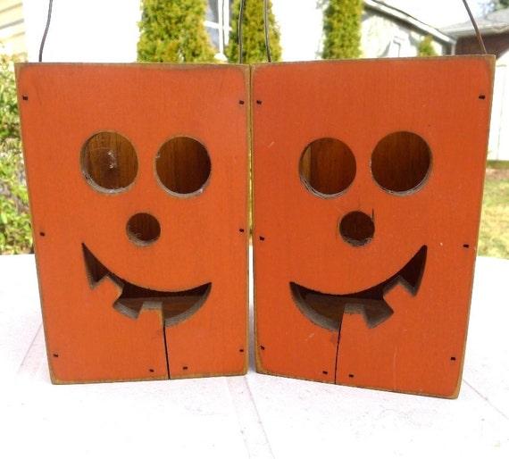 Halloween Candle Holder Jack-o-Lantern Set/2 Vintage Handmade Wood Primitive Luminaria - Originally 25.00 Now 16.00