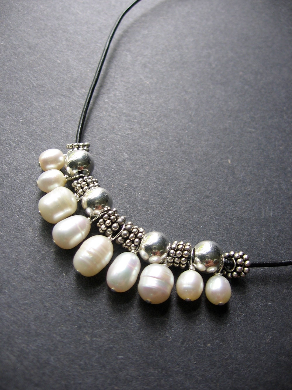 Pearl Necklace. Leather Pearl Necklace Tremont Necklace
