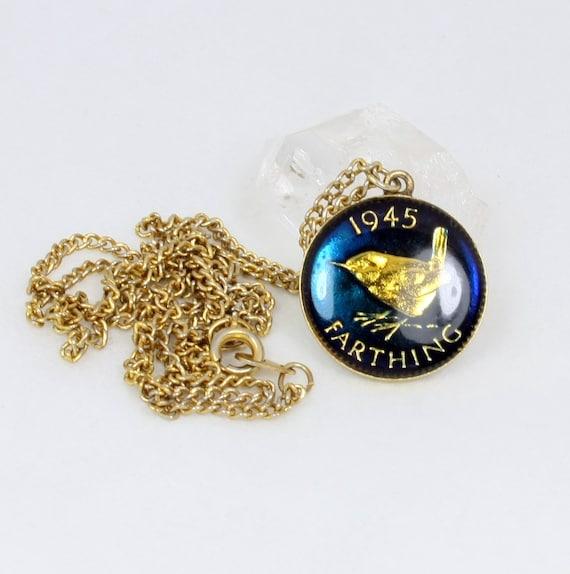 Vintage Enamel Coin Pendant Necklace, Farthing, King George VI, Wren, 1945, British