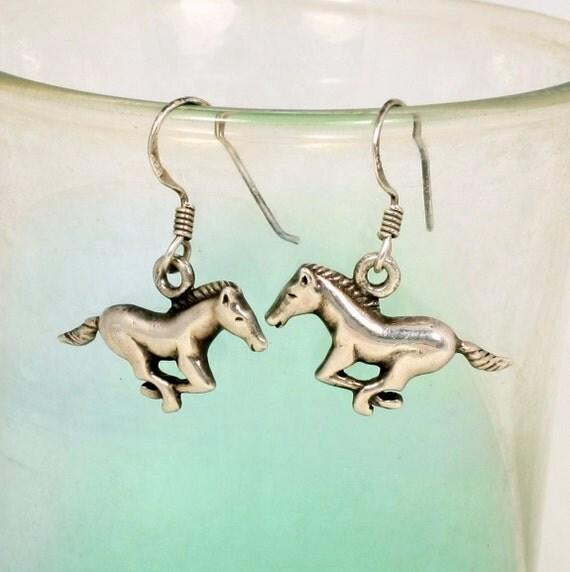 Vintage Sterling Silver Horse Earrings