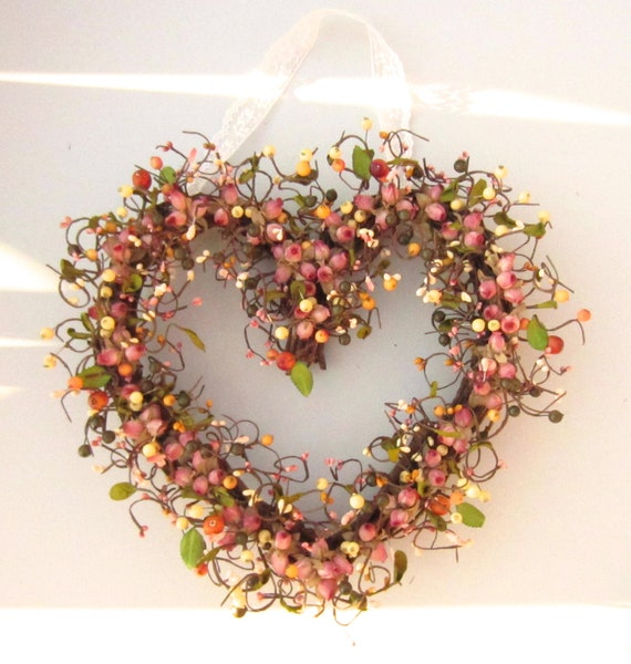 Heart Shaped Wreath - Mauve Roses and Berries