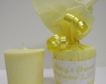 10 Baby Shower Favors - Baby Powder Scented Soy Votives - Yellow