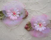 2 pc PINK Organza Velvet Ribbon Daisy Flower Fabric Sequin Stone Beaded  w Leaves Applique Bridal Baby Christening