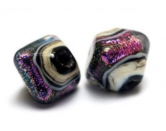 Glass Lampwork Bead Sets  - Five Pixie Purple Bicone Beads -10604207