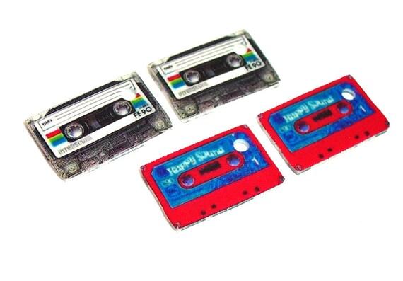 TINY Cassette Tape Charms 4pc ..... retro sound mix ........ handmade