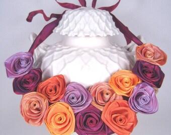 """Ribbon rose bib necklace -- Individually handmade French ribbon roses in """"sherbet"""" hues"""