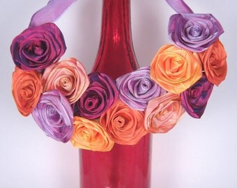 """Bib statement necklace of ribbon roses -- individually handmade French ribbon roses in """"sherbet"""" hues -- a one-of-a-kind gift"""