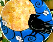 RAVEN'S MOON - HandMade Painted Bowl - Unique Crow and Flower Blossom Serving Dish - Black Bird Large Pasta or Salad Deep Plate - LoveArtWorks