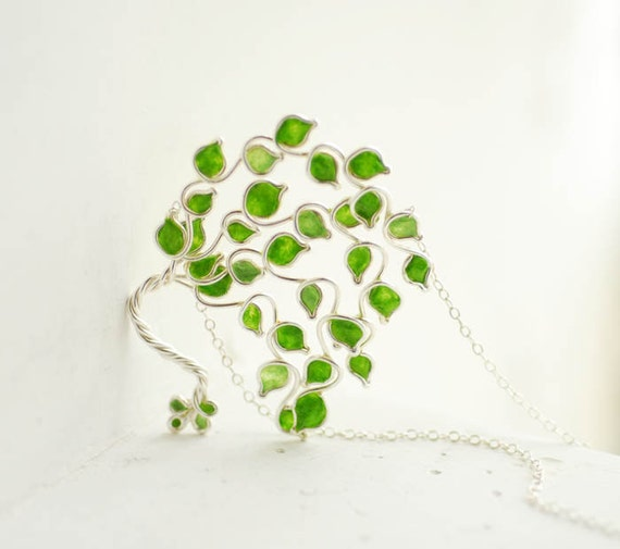 Lime Grove Tree Necklace Sterling Silver Tree Jewelry, Lime Apple Green Necklace, 4th 1st Anniversary Gift Paper Jewelry, Fruit Tree of Life