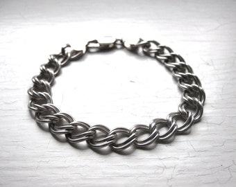 Vintage Sterling Silver 70's Italian Double Link Charm Bracelet