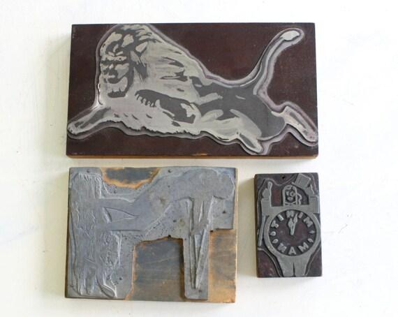 BIG Vintage Letterpress Printing Block - Leo Lion