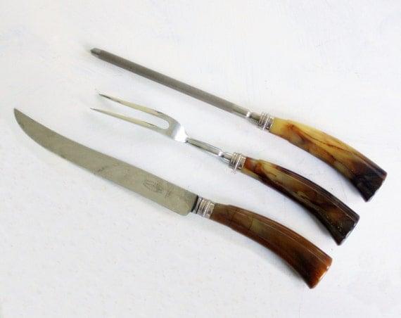 Fork and knife bakelite carving set for by shavingkitvintage
