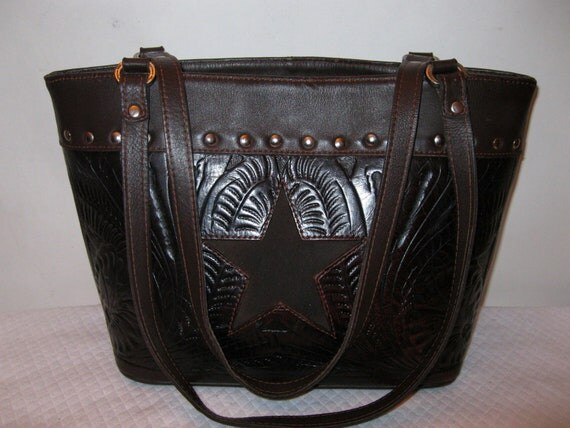 Reserved for AnnAmerican West thick soft brown leather med size tote satchel purse bag awesome