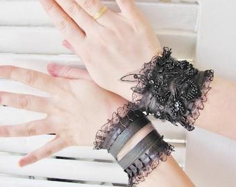 WILD CAT black wrist cuffs steampunk cuffs gothic cuffs twilight gothic gloves victorian gloves goth lolita gloves