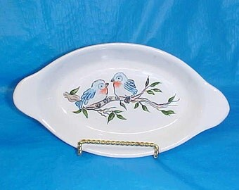 Baby Bluebirds Blue Bird  Ceramic Scampi Pasta Enchilida Oval Pottery Serving Dish