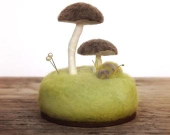 Pincushion Pin Cushion Umbrella Mushrooms Nature Lovers Sewing Table Decor Wool Sculpture Made To Order