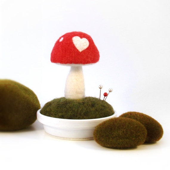 Mushroom Love Heart Pincushion Scene Made To Order