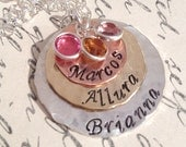 Layered Love III Birthstone Necklace  mixed metal necklace - hand stamped necklace - personalized necklace - mothers necklace