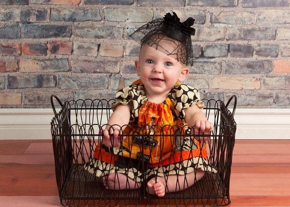 Girls Halloween baby doll dress, custom newborn to 6 HALIES HOCUS POCUS