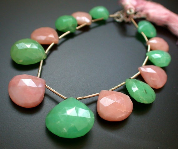 Extremely Beautiful Chrysoprase Pink Opal Faceted Heart Briolttes- 17 mm