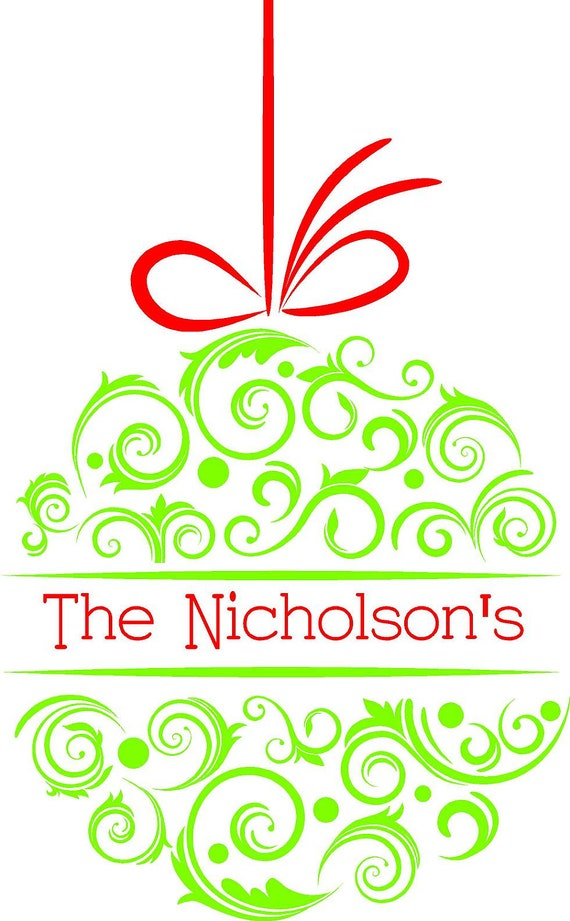 Custom personalized christmas ornament wall art by
