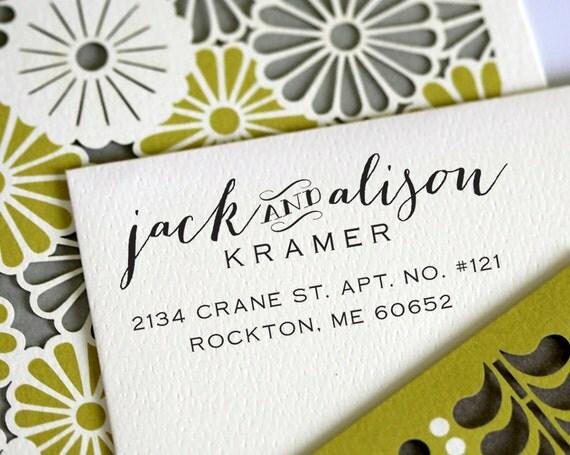 Self Inking Address Stamp - handwriting style - wedding personal housewarming gift - 3001