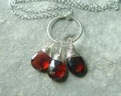 Garnet Necklace Silver Wire Wrap Garnet Birthstone eco friendly necklace January garnet Valentine Jewelry