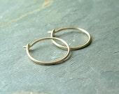 14k gold hoops small hoops solid gold hoop earrings eco friendly minimalist jewelry simple earring, Women Gift Idea, Men Unisex Gift