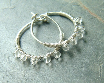 Small beaded hoop earrings wire wrapped silver hoops quartz birthstone jewelry eco friendly under 30