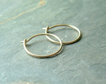 Small gold hoop earrings handmade 14k Gold Hoops unisex men women Gift, minimalist eco friendly gold jewelry gift
