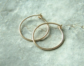 14k solid gold hoops small hoops solid gold hoop earrings eco friendly earrings minimalist jewelry, choose your size, Women Gift for her