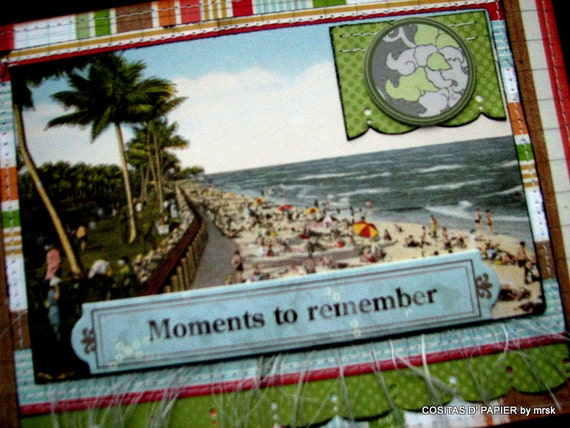 Vacation Mini Album--10 pages for photos and or journaling---6 tags included, wire bound---Free USA (continental) Shipping