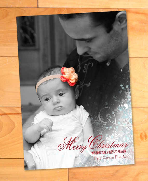 Snowflakes Vertical Custom Holiday or Christmas Photo Card