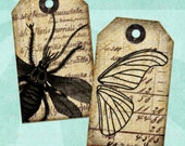 Printable Tags INSECTS on OLD LETTERS Digital Collage Sheet - no. 0100