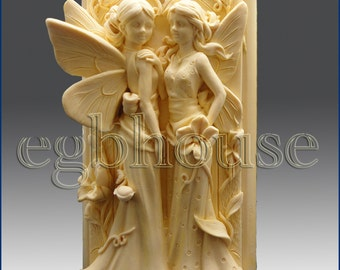 3D Silicone Candle Mold - Twin Fairys((2 parts assembled mold)-free shipping