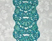 Beautifu turquoise Ribbon Shell Bookmark, Lace, Machine Embroidery