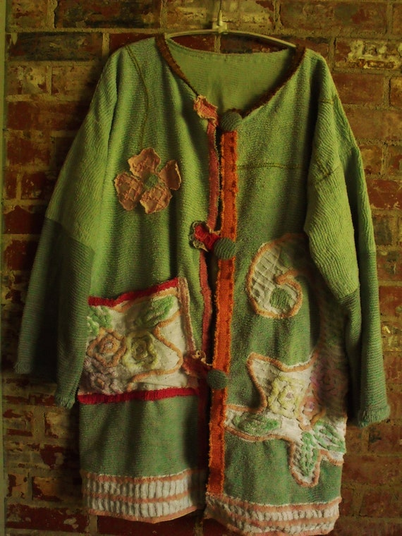 Plus Size Patched Decorated Vintage Chenille Jacket