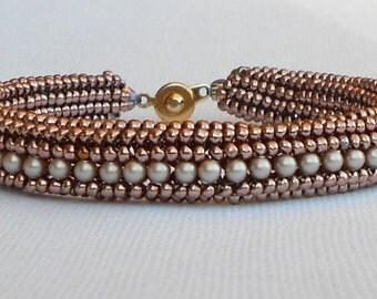 pearl beaded bracelet seed bead jewelry mauve bangle