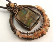 Necklace Ammolite Copper Pendant