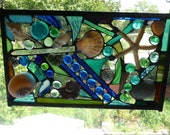 Mixed Media Shell starfish  Panel in Stained Glass