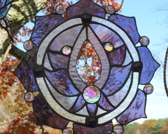 Purple Lotus Flower Panel Dichroic accents