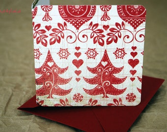 Blank Mini Holiday Set of 10 Cards, Vintage Red Patterns with Plaid on the Inside, Bright Red Envelopes, mad4plaid
