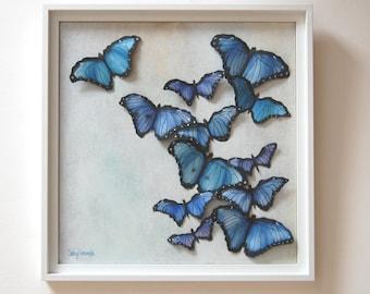 3D Butterflies Painting - Blue Purple Butterfly Original Oil Painting Woodland Decor Sculpted Paper Butterflies Wall Art
