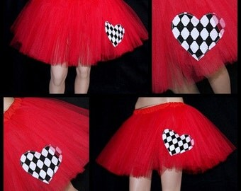 Red Queen of Hearts Costume TuTu Skirt MTCoffinz All Adult Sizes